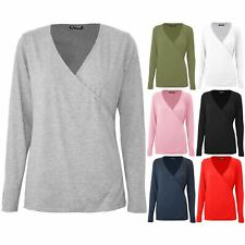 Womens Ladies Plain Deep V Neck Front Wrap Over Loose Fit Long Sleeve Tunic Top