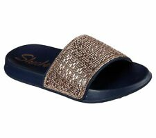 Skechers 31546 2nd Take Womens Slip On Sandals Sliders Rindstone Glittery Navy