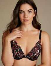 bad7c037e0 NEW M S PRINTED PADDED PUSH UP PLUNGE BLACK BRA LOUISA LACE 30 32 34 36 A B  C D