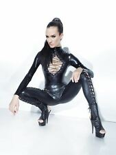 COQUETTE  D9312 Damen Sexy Catsuit Wetlook Overall Jumpsuit Body GOGO Lack Party