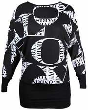 Womens Love Pairs 37 Printed Batwing Top Ladies Long Sleeve Baggy Tops Plus Size