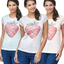 Camiseta para señoras Fruit Lentejuelas Estampado FRESA manga corta STRAWBERRY