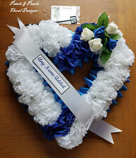 Heart Shaped Funeral Wreath - Artificial Silk Flower Memorial Tribute (H2)