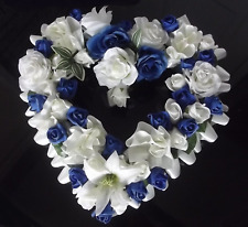 Heart Shaped Funeral Wreath - Artificial Silk Flower Memorial Tribute (H4)