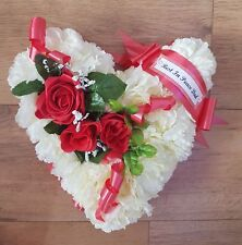 Heart Shaped Funeral Wreath - Artificial Silk Flower Memorial Tribute (H6)