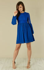 New Women's Blue Lace and Chiffon Dress Long Sleeve Ladies Day Evening Size 8-14