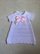 SPANISH STYLE BABY GIRLS KNITTED DRESS WHITE / PINK  BNWT 0/3 3/6 Months