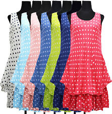 New-Womens-Ladies-Italian-Spotty-2Layered-Cotton-Linen Lagenlook Tunic Top Dress