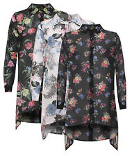 Womens Plus Size Floral Print Dipped Hem Chiffon Shirt Sheer Hanky Hem Top 14-28