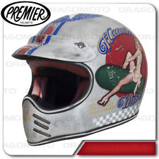Casco Mx Pin Up Old Style Silver Premier Integrale Cafe racer