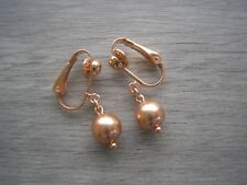 ~ Rose Gold Earrings Made with Swarovski Pearls Silver Gold Rose Gold Clip-ons