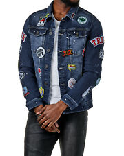 EightyFive Herren Denim Jacket Jeans-Jacke Patches Destroyed Blau EFS3786 S-XL