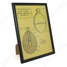 German M39 Egg Grenade Framed Blueprint - A4 WW2 Army Military Artwork Picture