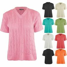 Womens Short Sleeve Ladies V Neck Sweater Pullover Cable Knitted Chunky Jumper