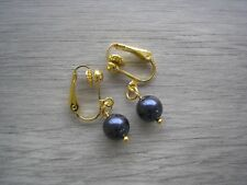 ~ Navy Clip-on Earrings Made with Swarovski Pearls Silver Gold or Rose Gold