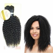 "AFRO KINKY BULK 100% REMY HUMAN HAIR CURLY EXTENSION 14"" 18"" Natural Black 120gr"