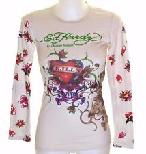 Nuova da donna Ed Hardy manica lunga Specialty T SHIRT L'AMORE UCCIDE Slowly XS