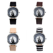 Watch Two Cats Faux Leather Band Stainless Steel Case Women Wrist Quartz Analog