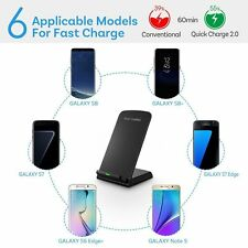Qi Wireless Fast Charger Pad Stand Dock For Samsung Galaxy & iPhone 6/6s X 8 7