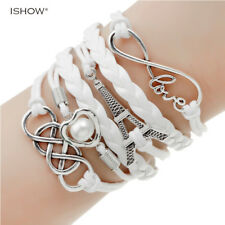 new fashion jewelry infinite double leather multilayer Charm bracelet factory