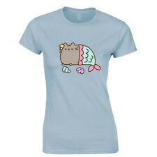 OFFICIAL Pusheen the Cat Mermaid Blue Ladies Womens T-Shirt Top (NEW)