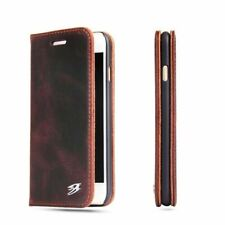 Genuine Cowhide Leather Retro Flip Wallet Stand Magnetic Case Cover For iPhone