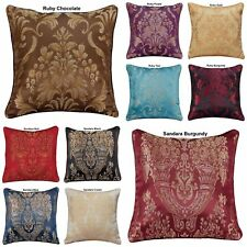 "Luxury Jacquard Floral Damask Cushion Covers OR Filled 18""x18"" Free P&P Deals"