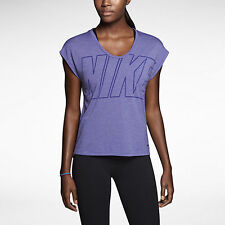 Nike Donna Dri-Fit Esploso LOGO Club Boxy Burnout T SHIRT RISPARMIA 35% L/XL