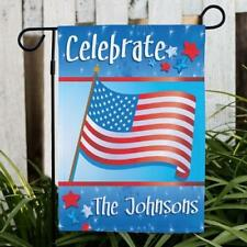 Personalized Celebrate Garden Flag July 4th Family Name Flag July 4th banner