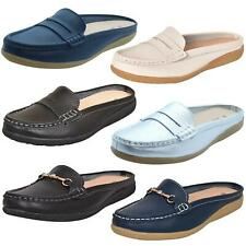 Womens Slip on Leather Sliders Loafer Moccasins Mules Shoes