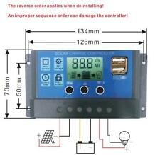 24V 12V Auto Solar Panel Battery Charge Controller 30A 20A 10A PWM LCD Display S