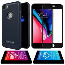 étui housse Silicone iPhone 8 Carbon Antichoc Navy + verre trempé Full 5D