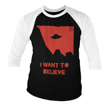 Officially Licensed The X-Files - I Wan't To Believe Baseball 3/4 Sleeve T-Shirt