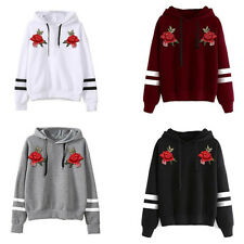 LK _femme broderie SWEAT CAPUCHE MANCHES LONGUES HAUT A Pull-over S-XL Ey