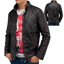 Giacca in pelle Mens Faux Leather Jacket staccabile stile giacca da motociclista