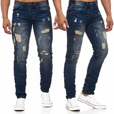 Hombres Ripped Jeans Remaches Blanqueado Destruido Piedra LavadoHombres Ripped