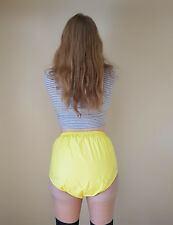 YELLOW PVC Plastic Pants Adult DIAPER NAPPY Incontinence