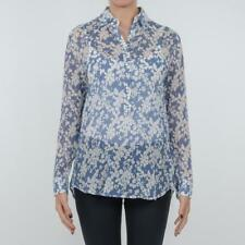 CAMICIA DONNA ALTEA BLUE FANTASIA SETA COTONE FLOREALE MADE IN ITALY 174522