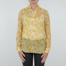 CAMICIA DONNA ALTEA GIALLO FANTASIA SETA COTONE FLOREALE MADE IN ITALY 174522