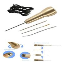 Leather Awl Tool Kit Needles Copper Handle Sewing Hand Stitcher Shoe Repair DIY
