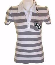 New Women's Superdry Knitted Striped Polo Shirt Blouse Top Grey White