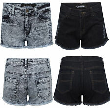 New Ladies Womens Girls Plain Stretch Denim Hot Short Pants Jeans Shorts UK 8-16