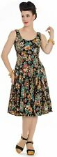 Hell Bunny 50s Monte Carlo Print Black Dress