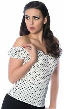 Dancing Days 50s White and Black Polka Dot Gypsy Top