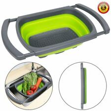 Collapsible Colander With Handle Vegetable Fruit Sieve Over the Sink Strainer
