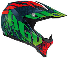 CASQUE CROSS AGV AX-8 CARBONE TIRÉ MULTI ROJO VERDE NOIR OFF ROAD RACING