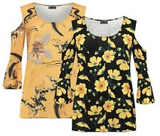 Womens Plus Size Cold Shoulder Flared Swing Bell Sleeve Floral Print T-Dress Top