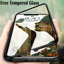 Luxury Magnetic Metal Frame Tempered Glass Back Cover Case For iPhone 7 6S 8 / X