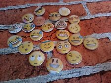 Emoji pin badges - 25mm/1 inch pin badge. party bag filler. Collectable