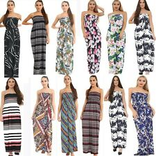 Sheering Boobtube Tropical Floral Print Beach Dress Womens Sleeveless Maxi Dress